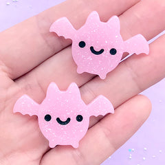 Kawaii Bat Cabochon with Glitter | Creepy Cute Decoden Pieces | Halloween Resin Embellishments (2 pcs / Pink / 38mm x 25mm)