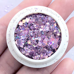 Holographic Glitter Sprinkles in Various Sizes | Hexagon Confetti in Iridescent Rainbow Color | Resin Art Supplies (AB Light Purple)