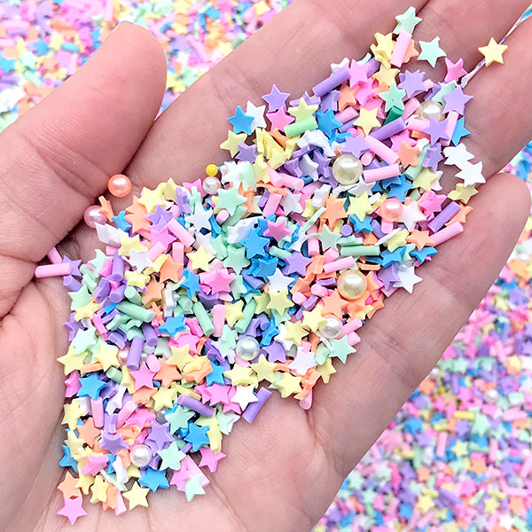 Colorful Star Chocolate Sprinkles and Pearl and Dragee for Fake Food DIY | Polymer Clay Toppings | Kawaii Craft Supplies (Mix / 5 grams)