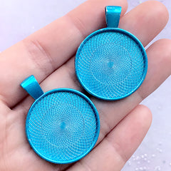 Round Bezel Setting Charm | 25mm Cameo Base | Cabochon Bezel Tray | Resin Jewellery Supplies (2 pcs / Blue)