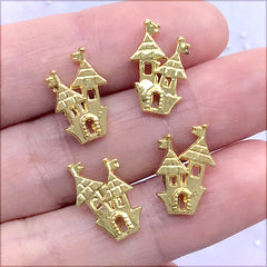 Haunted House Floating Charm | Halloween Resin Inclusions | Resin Shaker Bit | Mini Embellishments for Resin Craft (4 pcs / Gold / 10mm x 15mm)