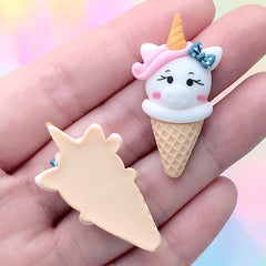 Unicorn Piggy Ice Cream Cabochon | Sweets Decoden Piece | Kawaii Resin Embellishments (3 pcs / 20mm x 37mm)