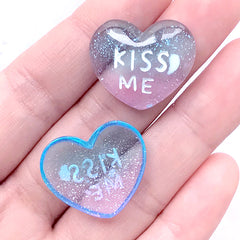 DEFECT Kiss Me Heart Cabochons with Glitter | Kawaii Resin Cabochon | Decoden Supplies (2 pcs / 23mm x 20mm)