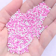Faux Dragee Sprinkles | Dollhouse Sugar Pearl Toppings | Miniature Food Craft | Kawaii Sweet Jewelry Making (Pink White / 7g)