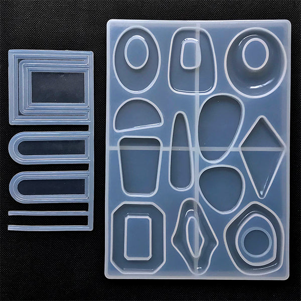 Irregular Geometric Shapes Silicone Mold with Hole Maker (13 Cavity) for Resin Crafts | Geometry Jewellery Mould | Retro Dangle Earrings DIY