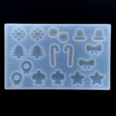 Small Christmas Embellishment Silicone Mold for Resin Art (18 Cavity) | Snowflake Peppermint Candy Cane Jingle Bell Angel Star Tree Wreath Ribbon Mould