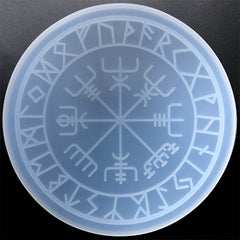 Runic Wheel Silicone Mold | Vegvisir Norse Wheel Mould | Viking Compass Mold with Engraved Ancient Alphabets (240mm)