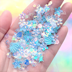 Iridescent Seashell and Flower Sequin Assortment | Glittery Confetti | Kawaii Mermaid Sprinkles for Resin Craft (Blue / 5 grams)