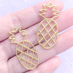 Pineapple Open Bezel Charm | Tropical Fruit Deco Frame for UV Resin Filling | Kawaii Resin Jewellery Supplies (2 pcs / Gold / 17mm x 38mm)