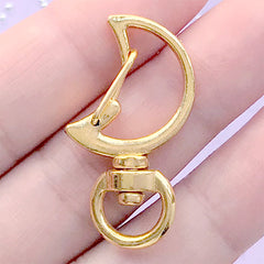 Kawaii Moon Snap Clip with Swivel Ring | Keychain Findings | Magical Girl Lanyard Hook | Lobster Clasp (1 piece / Yellow Gold / 18mm x 34mm)