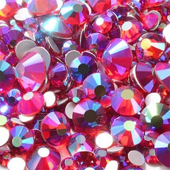 Glass Rhinestones in Various Sizes | Faceted Rhinestones Assortment | Bling Bling Craft Supplies | Nail Decoration (AB Red Purple / SS4 to SS20 / Around 300 pcs)