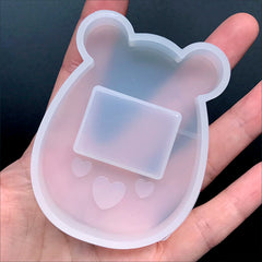 Kawaii Tamagotchi Resin Shaker Charm Silicone Mold in Bear Shape | Shake Shake Decoden Cabochon DIY (53mm x 71mm)