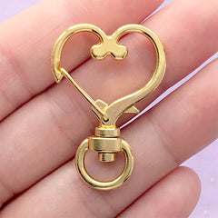 Heart Snap Clip with Swivel Ring | Kawaii Keychain Findings | Lanyard Hook Clasp | Bag Charm DIY (1 piece / Yellow Gold / 24mm x 35mm)