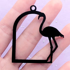 Flamingo Bird Cage Acrylic Open Bezel Pendant | Black Deco Frame Charm for UV Resin Filling (1 piece / Black / 44mm x 49mm / 2 Sided)
