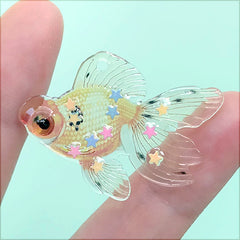 Goldfish Charm with Confetti | Koi Fish Resin Pendant | Kawaii Jewellery Making (1 Piece / Orange / 38mm x 28mm)
