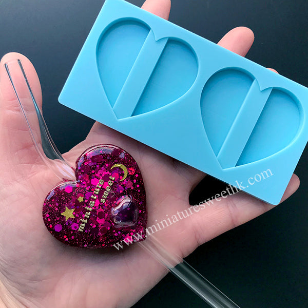 Heart Straw Topper Silicone Mold | Personalized Straw Topper Making | Wedding Party Decoration | Epoxy Resin Craft Supplies (47mm x 45mm)