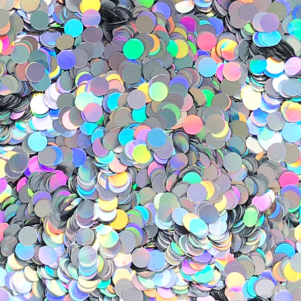 Holographic Round Circle Dot Glitter Sprinkles | Glittery Confetti | Holo Embellishments | Resin Fillers (AB Silver / 4mm / 5 grams)