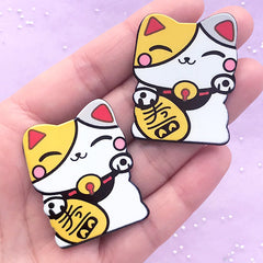 Lucky Cat Acrylic Cabochons | Maneki Neko Embellishments | Japanese Culture Beckoning Cat Decor (2 pcs / 31mm x 40mm)
