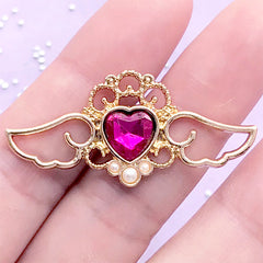 Magical Angel Wing Open Bezel with Heart Rhinestone | Kawaii Deco Frame for UV Resin Filling (1 piece / Dark Pink & Gold / 41mm x 19mm)
