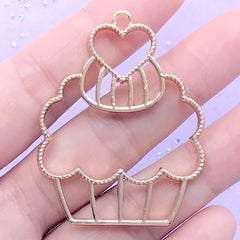 Cupcake Open Back Bezel for UV Resin Filling | Dessert Deco Frame | Sweet Charm | Kawaii Jewelry Making (1 piece / Gold / 37mm x 48mm)