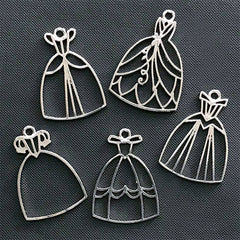 Princess Prom Dress Open Bezel | Evening Dress Charm | Ball Gown Deco Frame | Kawaii UV Resin Jewelry DIY (5 pcs / Silver)