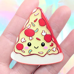 Kawaii Pizza Acrylic Cabochon | Decoden Embellishment | Toddler Hair Bow Center | Scrapbooking Supplies (1 piece / 45mm x 49mm)