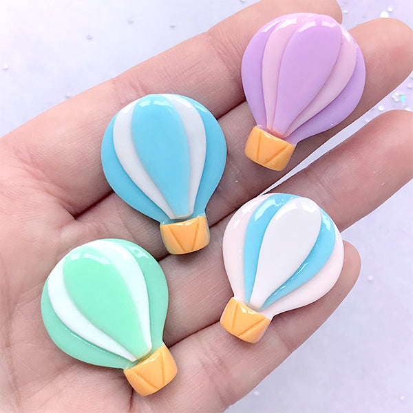 Hot Air Balloon Cabochons | Pastel Resin Embellishments | Decoden Pieces | Kawaii Jewelry Supplies (4 pcs / Mix / 23mm x 29mm)