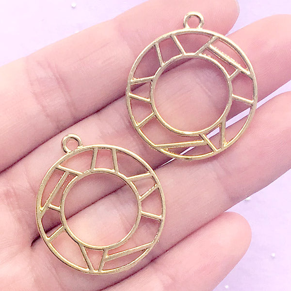 Geometric Circle Open Bezel | Geometry Charm | Outlined Round Deco Frame for UV Resin Jewellery Making (2 pcs / Gold / 26mm x 29mm)