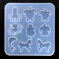 Marine Life and Animal Silicone Mold (9 Cavity) | Squid Sea Turtle Octopus Snowman Angel Dolphin Horse Mold | Resin Mold Supplies