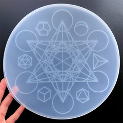 Magic Circle Crystal Grid Silicone Mold for Resin Craft | Hexagram Sacred Geometry Board Mould | Healing Altar DIY (240mm)