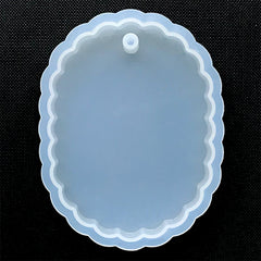 Large Scalloped Oval Pendant Silicone Mold | Big Oval Charm Mold | Epoxy Resin Jewellery Supplies | Soft Clear Mould for UV Resin (59mm x 80mm)