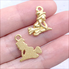 Small Witch on a Broom Stick Charm | Halloween Craft Supplies | Fairytale Jewelry DIY (10 pcs / Gold / 14mm x 16mm)