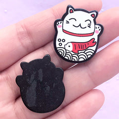 Maneki Neko Acrylic Cabochons | Lucky Beckoning Cat Embellishments | Decoden Pieces | Scrapbook Supplies (2 pcs / 24mm x 27mm)
