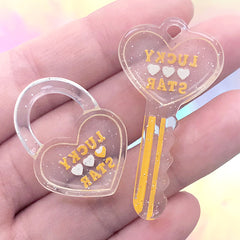Heart Key Lock and Key Charm | Decoden Resin Cabochon | Kawaii Jewellery Making (2 pcs / Yellow)