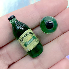 3D Dollhouse Beverage | Realistic Miniature Drink | Mini Ginger Beer for Doll Craft (2 pcs / Green Lemon Lime Bitter / 12mm x 31mm)