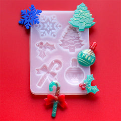Assorted Christmas Ornament Silicone Mold for Resin Art (5 Cavity) | Peppermint Candy Cane Holly and the Ivy Christmas Tree Snowflake Mould