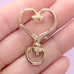 Heart Lobster Clasp with Swivel Ring | Lanyard Hook | Snap Clip | Kawaii Jewelry Supplies (1 piece / Gold / 24mm x 35mm)