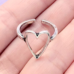 Heart Open Bezel Ring | Kawaii Jewelry with Heart Deco Frame for UV Resin Filling | Cute Jewellery Findings (1 piece / Tibetan Silver)