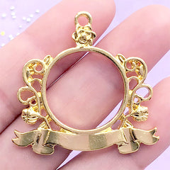 Floral Badge Open Back Bezel Charm with Decorative Border | Kawaii UV Resin Jewellery Supplies (1 piece/ Gold / 37mm x 36mm)