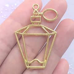 Antique Perfume Bottle Open Bezel Pendant | Eau de Cologne Deco Frame | Resin Jewellery Supplies (1 piece / Gold / 28mm x 42mm)