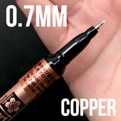 Sakura Pen-Touch 0.7mm Extra Fine Point Permanent Maker | Oil Based Paint Maker in Metallic Color (0.7mm / Copper)