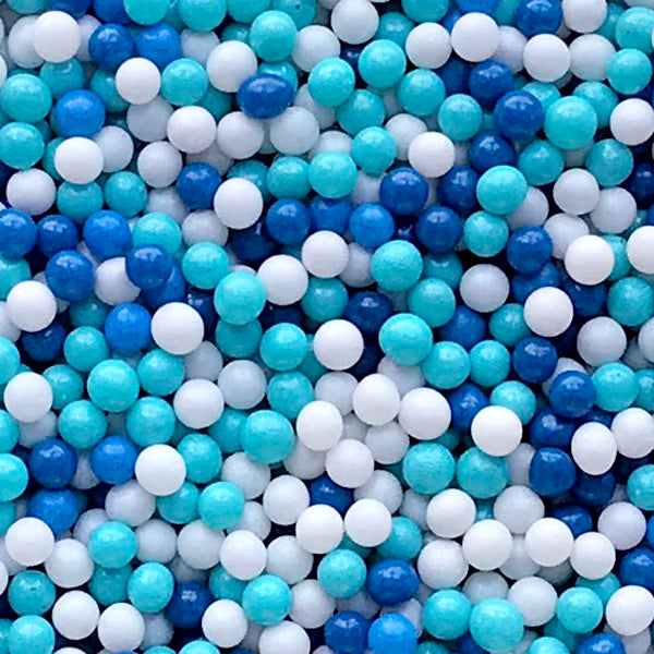 Miniature Dragee Sprinkles | Dollhouse Bubblegum for Doll Food DIY | Fake Sugar Pearl Toppings | Faux Gumball Candy (Blue White / 7g)