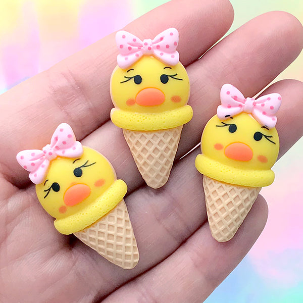 Animal Duck Ice Cream Cabochons | Sweet Decoden Supplies | Kawaii Jewelry DIY (3 pcs / 18mm x 33mm)