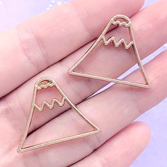 Mount Fuji Open Bezel Charm | Japan Mountain Pendant | Nature Deco Frame | Kawaii UV Resin Jewelry DIY (2 pcs / Gold / 28mm x 22mm)