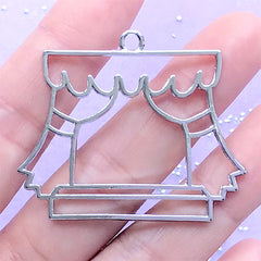 Window with Curtain Open Bezel | UV Resin Jewelry DIY | Kawaii Deco Frame for Resin Filling (1 piece / Silver / 45mm x 37mm)