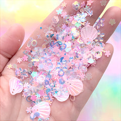Iridescent Sequin and Glitter Assortment | Seashell and Flower Confetti | Glittery Sprinkles | Kawaii Resin Inclusions (Pink / 5 grams)