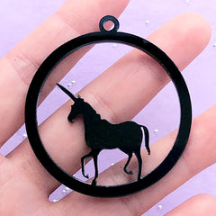 Magical Acrylic Open Bezel | Unicorn Deco Frame for UV Resin Filling | Kawaii Fairytale Jewelry (1 piece / Black / 48mm x 52mm / 2 Sided)