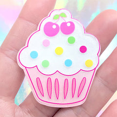 Glittery Cupcake Acrylic Cabochon | Kawaii Hair Bow Center | Decoden Phone Case | Scrapbook Supplies (1 piece / 42mm x 50mm)