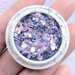 Iridescent Rainbow Glitter in Various Sizes | Holographic Hexagon Confetti Sprinkles | Holo Resin Inclusion (AB Blue Purple)