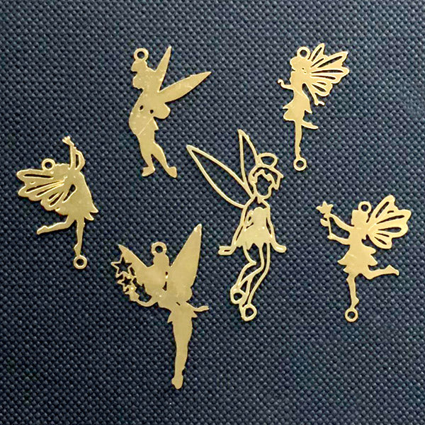 Small Fairy Metal Bookmark Charm | Fairy Tale Embellishments for Resin Jewelry DIY | UV Resin Inclusions | Kawaii Craft Supplies (6 pcs)
